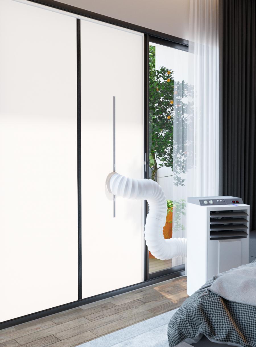 Deurafdichting Mobiele Airco – Magneetsluiting – Deurafmeting 201,5 x 90 CM – Airco Slang naar Buiten – Ook als hor te gebruiken
